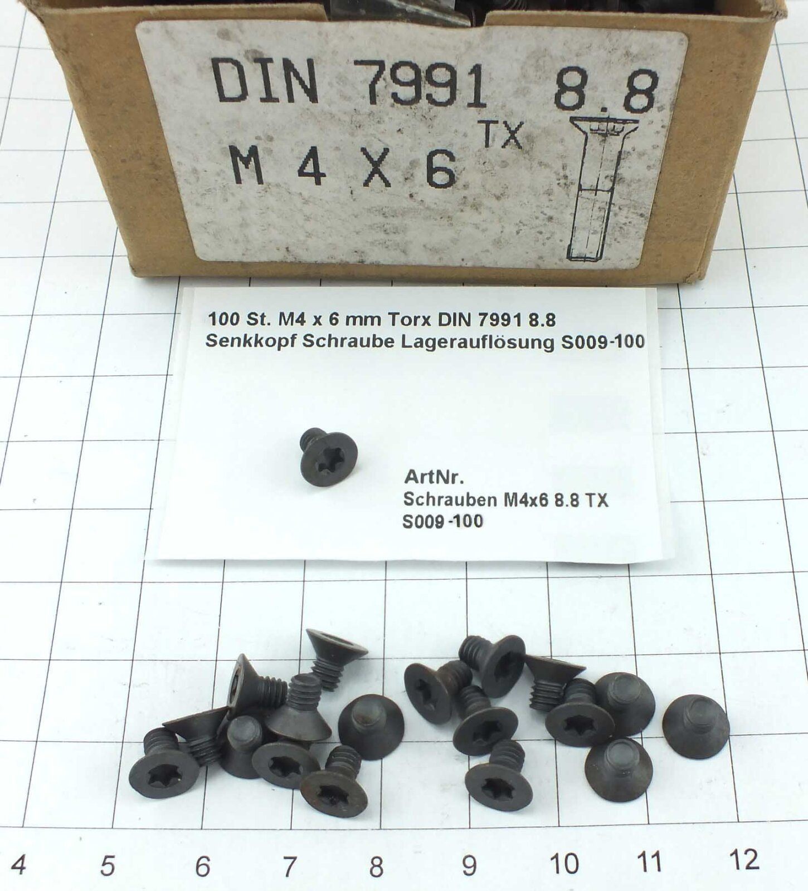 100 St M4 x 6 mm Torx DIN 7991 8.8 Senkkopf Schraube Lagerauflösung S009-100