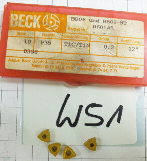 10 St. Bore Beck BB06 P35 TIC/TIN WBBo.2 12° P35 Vollbohrer NOS Wendeplatte W51